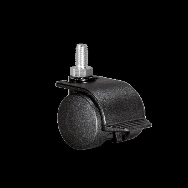Doppelrollen Ø 35 mm - harte Lauffläche | Doppelrolle Ø 035 mm mit harter Lauffläche und Feststeller, Gewindestift M10x15 mm