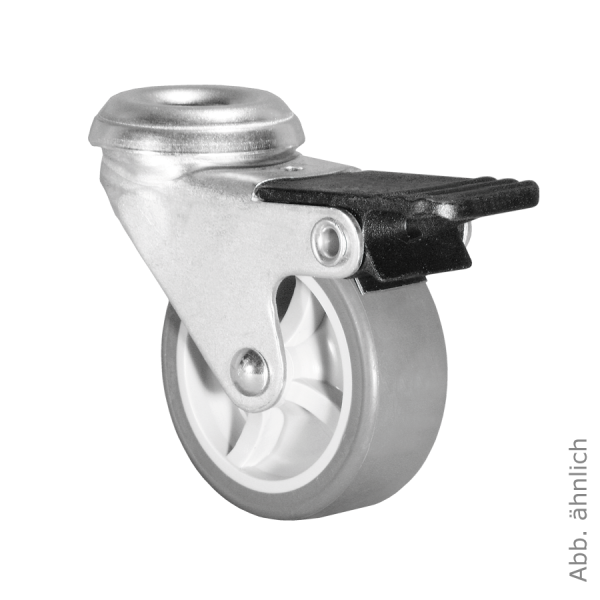 Ø 050 mm Apparaterolle mit weicher Lauffläche und Feststeller, Rückenloch Ø 8,2 mm
