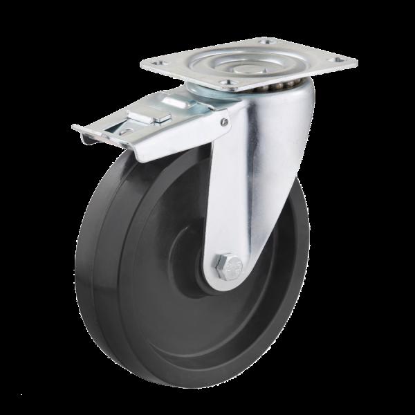 Industrierollen (Hitzebeständig) - Radserie DP_G (Gleitlager) | Ø 200 mm, Lenkrolle mit Feststeller und Anschraubplatte, Radkörper aus hitzebeständigen Duroplast mi