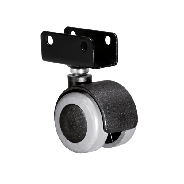 Doppelrollen Ø 40 mm - weiche Lauffläche | Doppelrolle Ø 040 mm mit weicher Lauffläche, Plattenschuh 19 mm