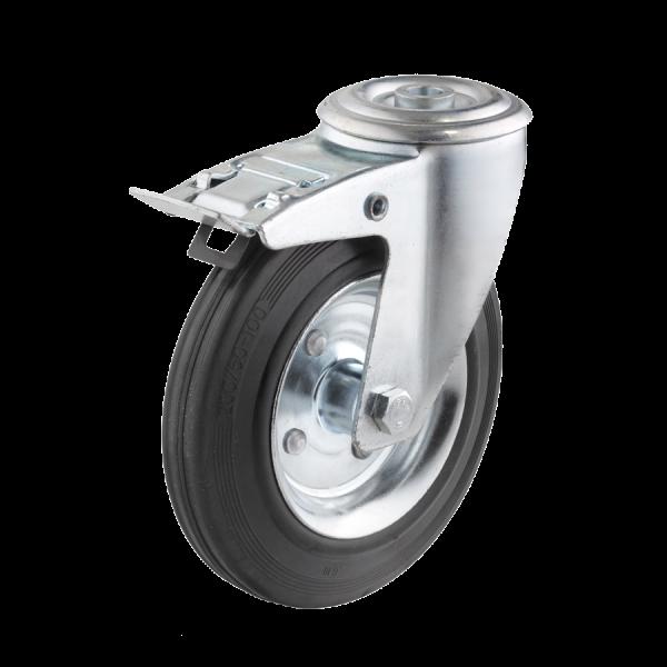 Industrierollen - Radserie VGS_R1 (Rollenlager) | Ø 125 mm, Lenkrolle mit Feststeller und Rückenloch, Radkörper aus Stahlblech, Lauffläche aus Vollgum