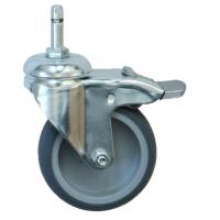 Ø 075 mm Apparaterolle mit weicher Lauffläche und Totalfeststeller, Stift Ø 8mm, Klemmring