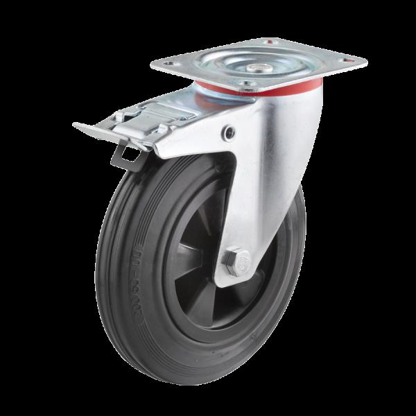 Industrierollen - Radserie VGK_R1 (Rollenlager) | Ø 125 mm, Lenkrolle mit Feststeller und Anschraubplatte, Radkörper aus Kunststoff, Lauffläche aus Vo