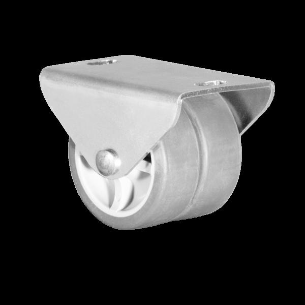 Kastenbockrollen | Ø 050 mm, Sonderkonstruktion Kastenbockrolle mit weicher Lauffläche, 2x Rad