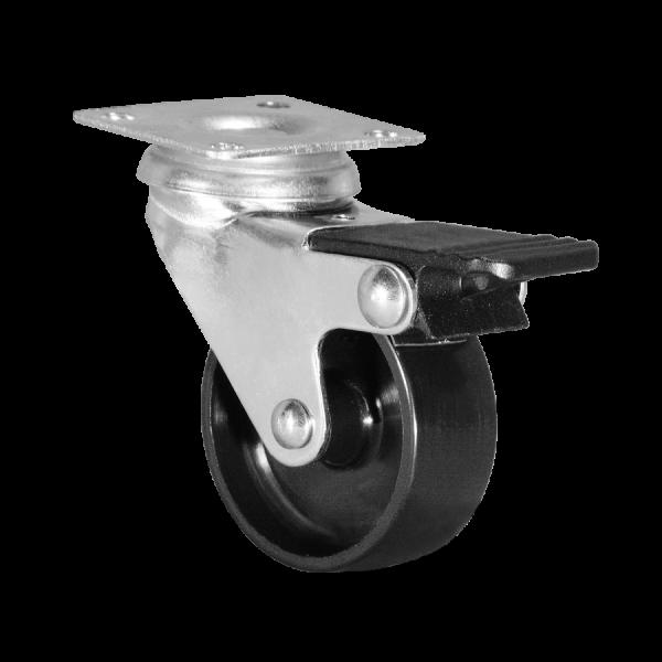Ø 050 mm Apparaterolle mit harter Lauffläche und Feststeller, Anschraubplatte 42x42 mm