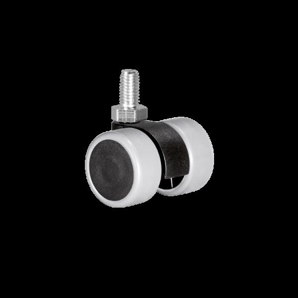 Doppelrollen Ø 30 mm - weiche Lauffläche | Doppelrolle Ø 030 mm mit weicher Lauffläche, Gewindestift M8x12 mm