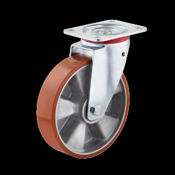 Industrierollen - Radserie PUAD_K1 (Kugellager) | Ø 125 mm, Lenkrolle mit Anschraubplatte, Radkörper aus Aluminium-Druckguss, Lauffläche aus Polyureth