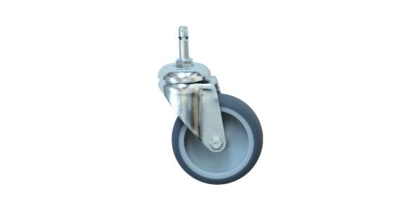 Apparaterollen / Geräterollen | Ø 075 mm Apparaterolle mit weicher Lauffläche, Rülo Ø 10,2 mm Gewindestift M10x26mm mit Schaft Ø 8mm