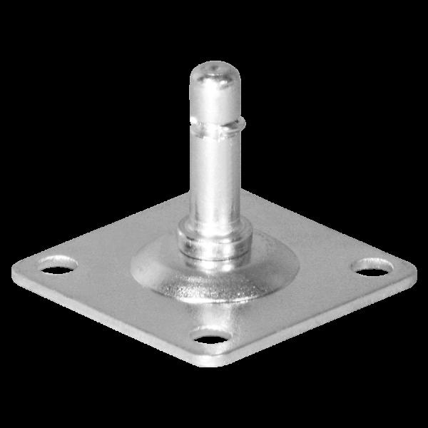 Befestigungen & Zubehör | Anschraubplatte 40x40x2,0 mm verzinkt, Stift Ø 8x27 mm mit Klemmring
