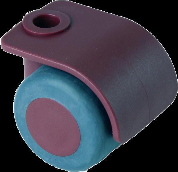 Möbelrollen in Farben | Doppelrolle Ø 035 mm mit weicher Lauffläche, Bohrung Ø 8mm, merlot