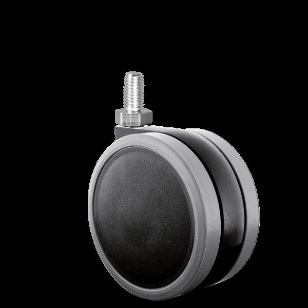 Doppelrollen Ø 65 mm - weiche Lauffläche | Doppelrolle Ø 065 mm mit weicher Lauffläche, Gewindestift M8x15 mm