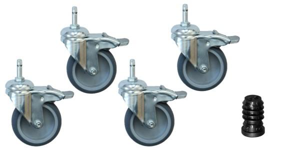 Apparaterollen / Geräterollen | 4er Set - Ø 075 mm Apparaterolle Totalfeststeller, für Rundrohr Innen-Ø 14mm
