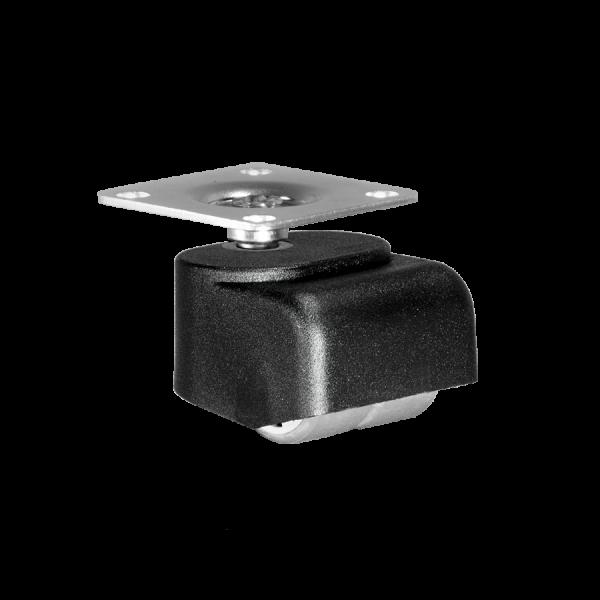 Walzenrolle Ø 025 mm mit weicher Lauffläche, Doppelbereifung, Anschraubplatte 40x40 mm