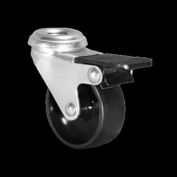 Apparaterollen / Geräterollen | Ø 075 mm Apparaterolle mit harter Lauffläche und Feststeller, Rückenloch Ø 10,2 mm