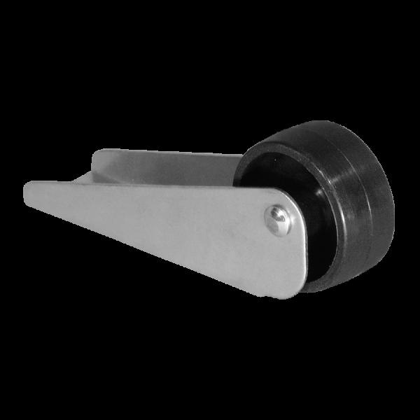 Kastenbockrollen | Bettkastenrolle 83x26 mm verzinkt mit Rolle Ø 025 mm, harte Lauffläche