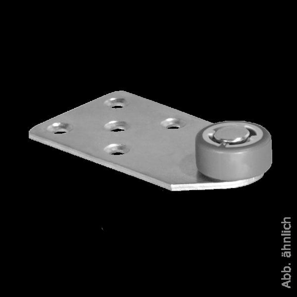Kopfteilrolle 101x53 mm verzinkt mit Rolle Ø 030 mm, weiche Lauffläche