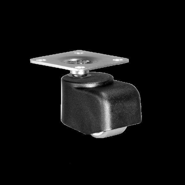 Walzenrolle Ø 025 mm mit weicher Lauffläche, Anschraubplatte 40x40 mm