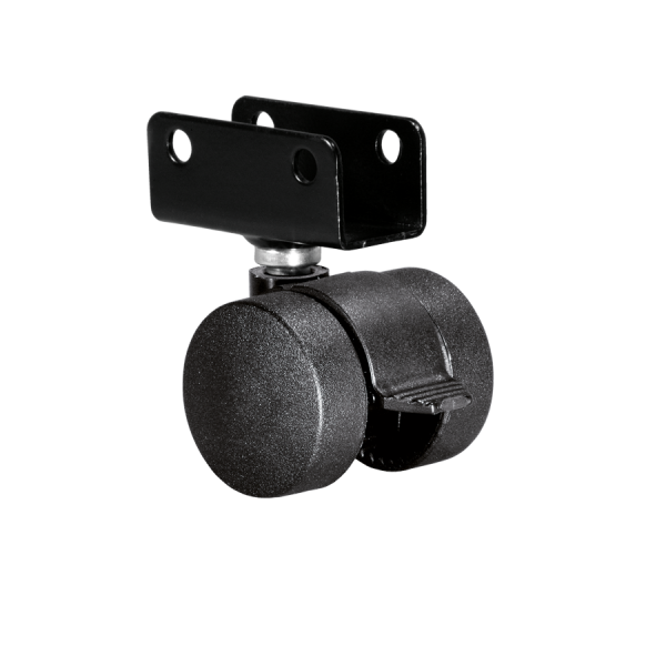 Doppelrollen Ø 35 mm - harte Lauffläche | Doppelrolle Ø 035 mm mit harter Lauffläche und Feststeller, Plattenschuh 22 mm