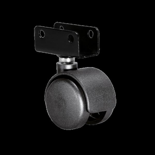Doppelrollen Ø 40 mm - harte Lauffläche | Doppelrolle Ø 040 mm mit harter Lauffläche, Plattenschuh 19 mm