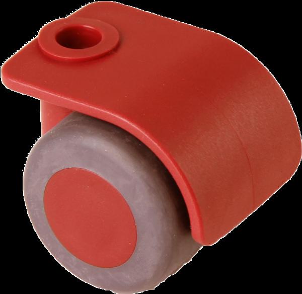 Möbelrollen in Farben   Doppelrolle Ø 035 mm mit weicher Lauffläche, Bohrung Ø 8mm, rot