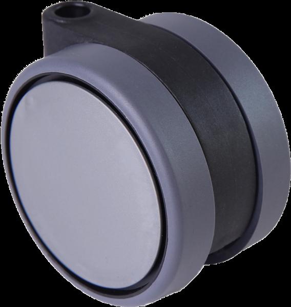 Doppelrollen Ø 75 mm - weiche Lauffläche | Doppelrollen mit weicher Lauffläche und durchgehender Radachse, Ø75mm, silber