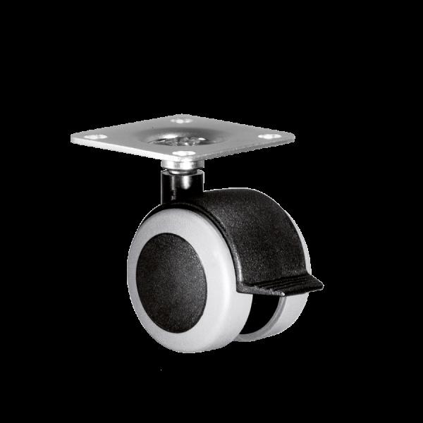 Doppelrollen Ø 50 mm - weiche Lauffläche | Doppelrolle Ø 050 mm mit weicher Lauffläche und Feststeller, Anschraubplatte 40x40 mm