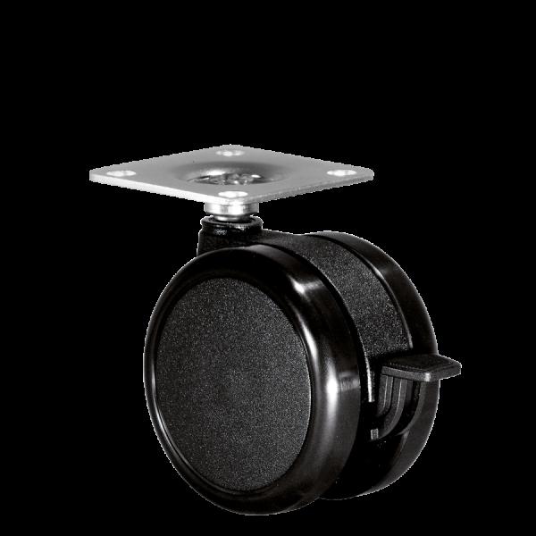 Doppelrollen Ø 75 mm - harte Lauffläche | Doppelrolle Ø 075 mm mit harter Lauffläche und Feststeller, Anschraubplatte 40x40 mm