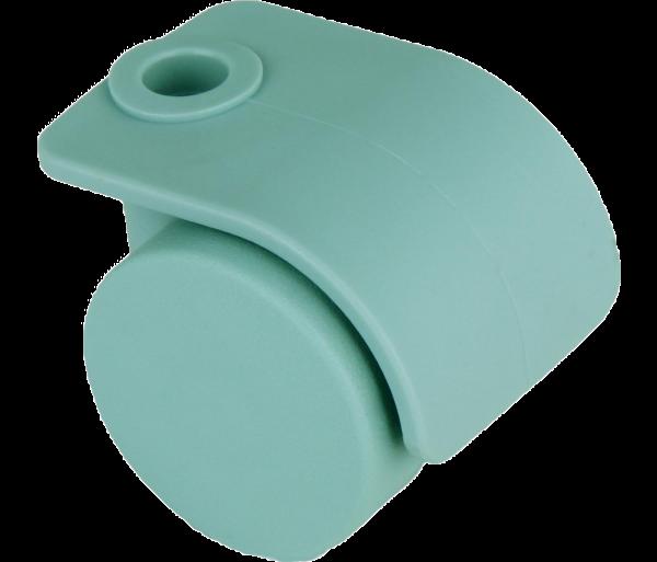 Möbelrollen in Farben | Doppelrolle Ø 035 mm mit harter Lauffläche, Bohrung Ø 8mm, sea foam