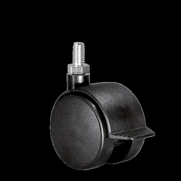 Doppelrollen Ø 50 mm - harte Lauffläche | Doppelrolle Ø 050 mm mit harter Lauffläche und Feststeller, Gewindestift M10x15 mm