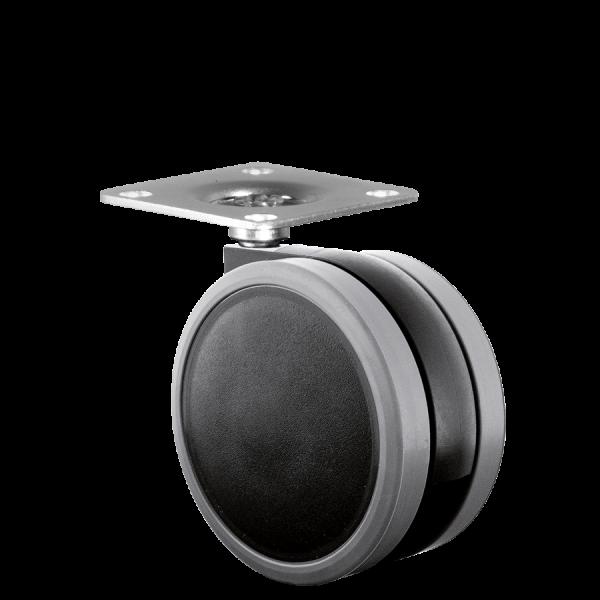Doppelrollen Ø 65 mm - weiche Lauffläche | Doppelrolle Ø 065 mm mit weicher Lauffläche, Anschraubplatte 40x40 mm
