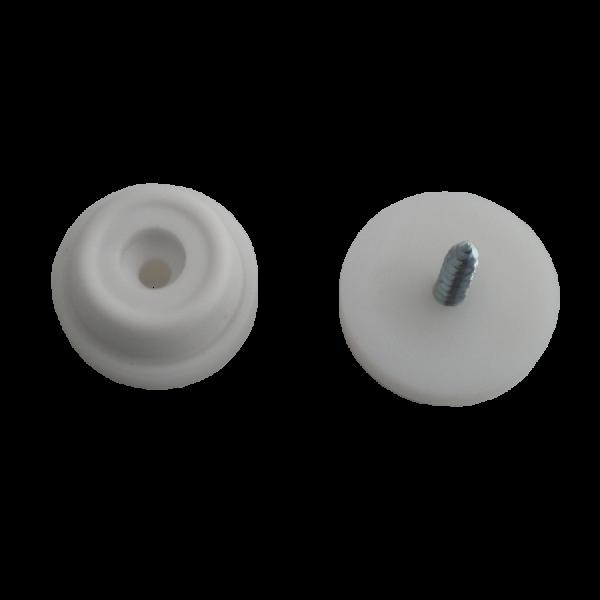 Stuhlbeinnagel / Filzgleiter / Gummistopper | Gummistopper Ø 24 mm weiß, inklusive Befestigungsschraube 3,5x25 mm