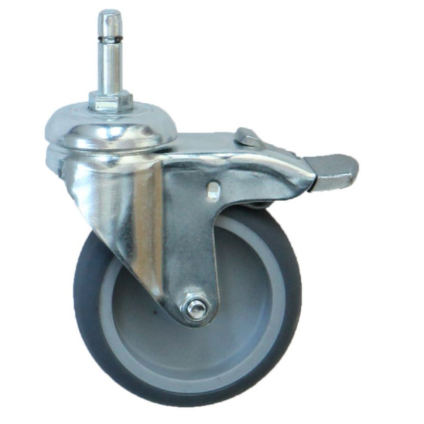 Apparaterollen / Geräterollen | Ø 075 mm Apparaterolle mit weicher Lauffläche und Totalfeststeller, Stift Ø 8mm, Klemmring