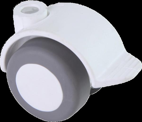Möbelrollen in Farben | Doppelrolle Ø 040 mm mit weicher Lauffläche und Feststeller, Bohrung Ø 8mm, weiss