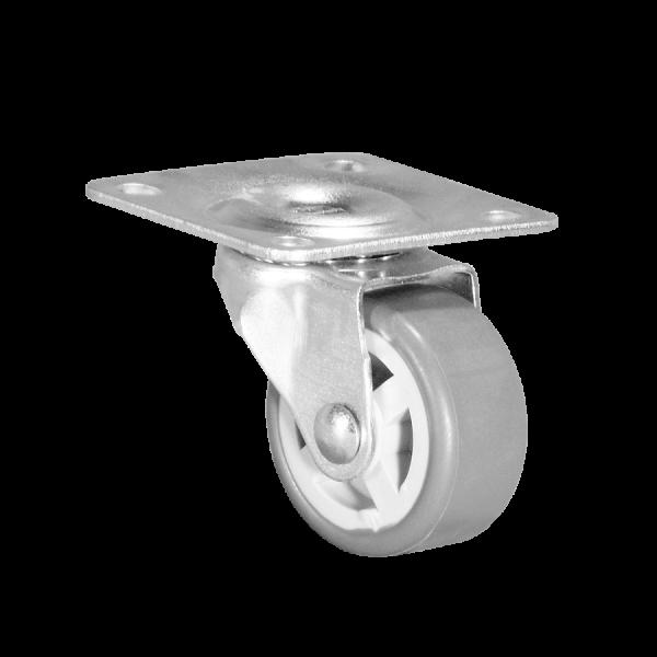 Apparaterollen / Geräterollen | Ø 030 mm Apparaterolle mit weicher Lauffläche, Anschraubplatte 40x40 mm