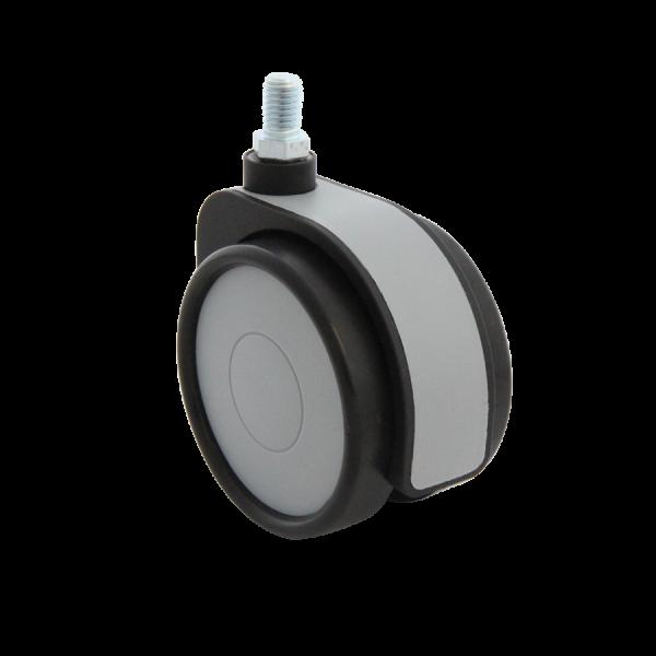 Design-Doppelrollen Ø 75 mm - weiche Lauffläche | Doppelrolle Ø 075 mm mit weicher Lauffläche, Kappen & Blende grau, Gewindestift M8x15 mm