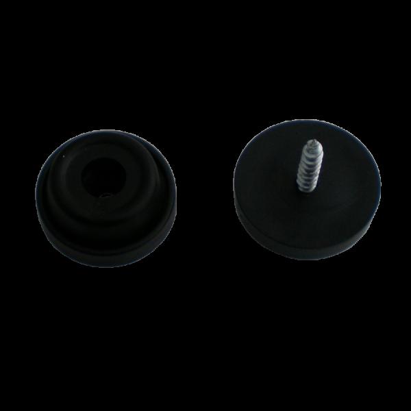 Stuhlbeinnagel / Filzgleiter / Gummistopper | Gummistopper Ø 24 mm schwarz, inklusive Befestigungsschraube 3,5x25 mm