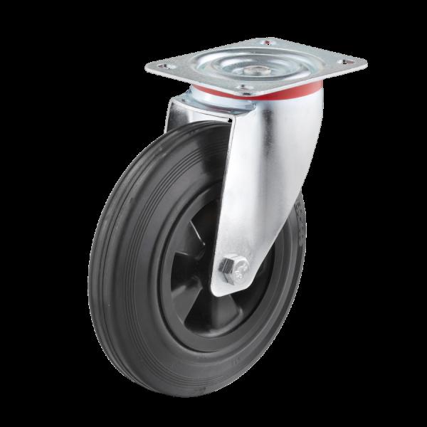 Industrierollen - Radserie VGK_R1 (Rollenlager) | Ø 200 mm, Lenkrolle mit Anschraubplatte, Radkörper aus Kunststoff, Lauffläche aus Vollgummi mit Roll
