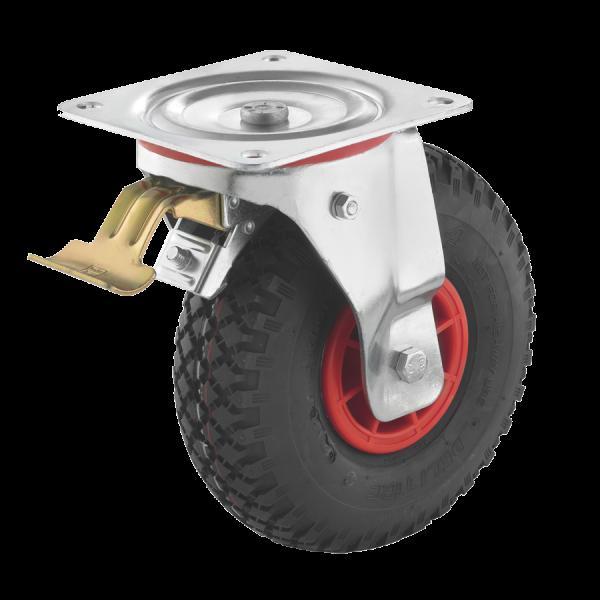 Industrierollen (Luftbereifung) - Radserie LUK_R1 (Rollenlager) | Ø 260 mm, Lenkrolle mit Feststeller und Anschraubplatte, Luftbereifung mit Rollenlager