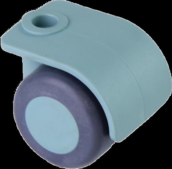 Möbelrollen in Farben | Doppelrolle Ø 035 mm mit weicher Lauffläche, Bohrung Ø 8mm, sea foam