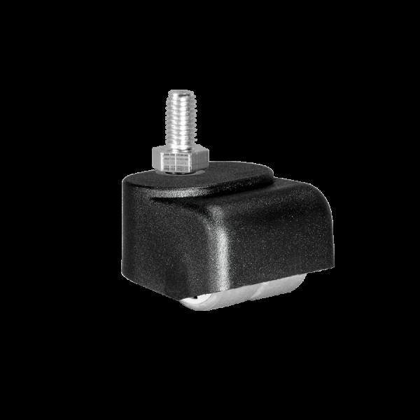 Walzenrollen | Walzenrolle Ø 025 mm mit weicher Lauffläche, Doppelbereifung, Gewindestift M10x15 mm