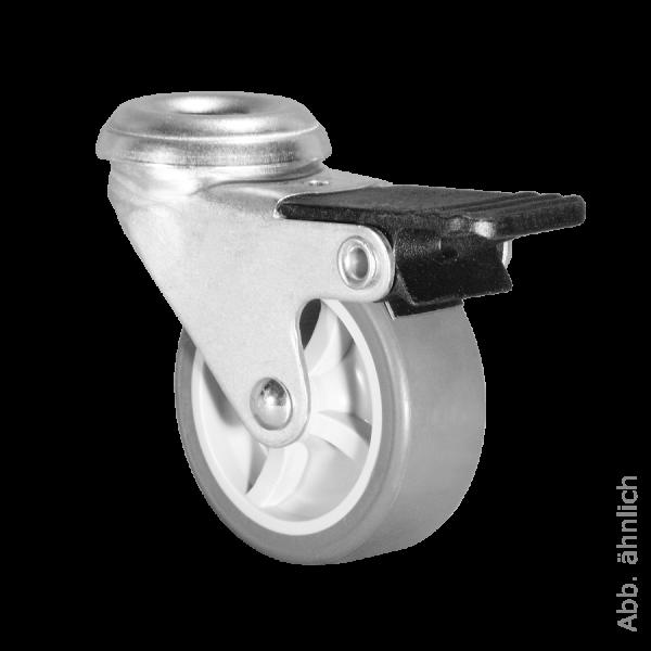 Apparaterollen / Geräterollen | Ø 100 mm Apparaterolle mit weicher Lauffläche und Feststeller, Rückenloch Ø 10,2 mm