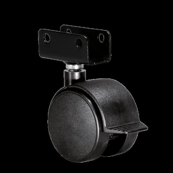 Doppelrollen Ø 50 mm - harte Lauffläche | Doppelrolle Ø 050 mm mit harter Lauffläche und Feststeller, Plattenschuh 19 mm