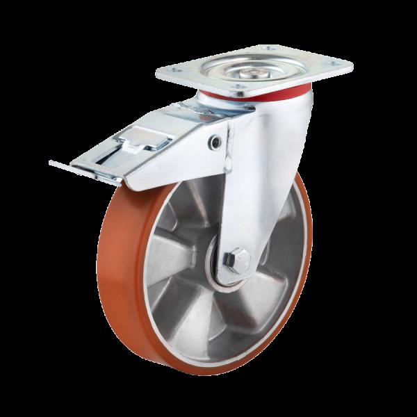 Industrierollen - Radserie PUAD_K1 (Kugellager) | Ø 100 mm, Lenkrolle mit Feststeller und Anschraubplatte, Radkörper aus Aluminium-Druckguss, Abb.ähnl