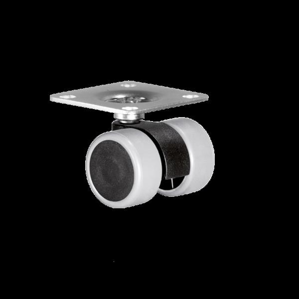 Doppelrollen Ø 30 mm - weiche Lauffläche | Doppelrolle Ø 030 mm mit weicher Lauffläche, Anschraubplatte 38x38 mm