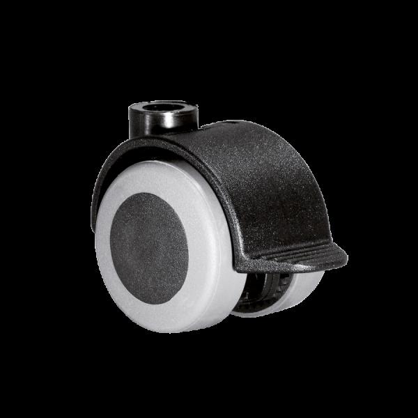 Doppelrollen Ø 40 mm - weiche Lauffläche | Doppelrolle Ø 040 mm mit weicher Lauffläche und Feststeller