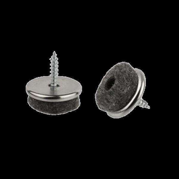 Stuhlbeinnagel / Filzgleiter / Gummistopper | Filzgleiter Ø 18 mm grau/vernickelt, inkl. Schraube 3,5x16 mm, Bauhöhe 10 mm