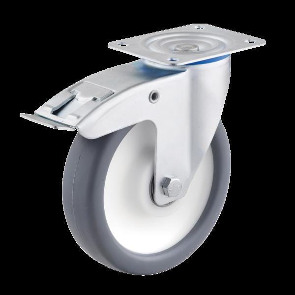 Industrierollen - Radserie TPPP_K1 (Kugellager) | Ø 125 mm, Lenkrolle mit Feststeller und Anschraubplatte, Radkörper aus Polypropylen, Lauffläche aus