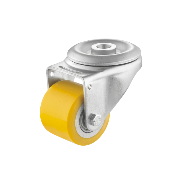 Mini-Schwerlastrollen | Mini-Schwerlast-Lenkrolle Ø 035 mm mit Rückenloch, Lauffläche aus Polyurethan mit Kugellager