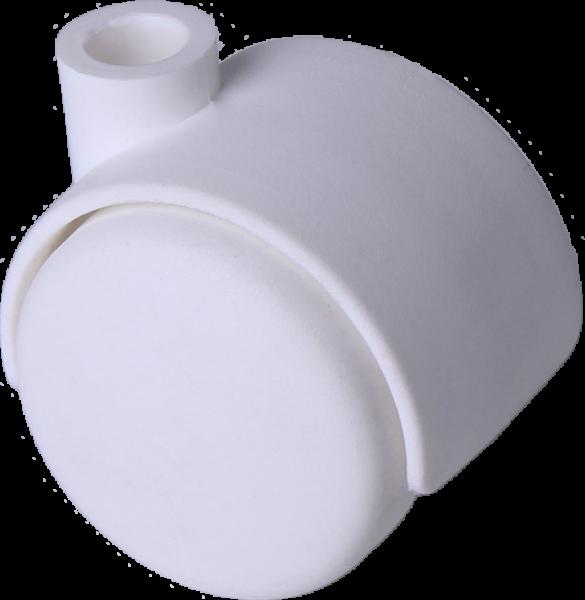 Möbelrollen in Farben | Doppelrolle Ø 040 mm mit harter Lauffläche, Bohrung 8mm, weiss