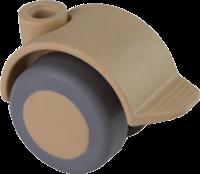 Doppelrolle Ø 040 mm mit weicher Lauffläche und Feststeller, Bohrung Ø 8mm, sand